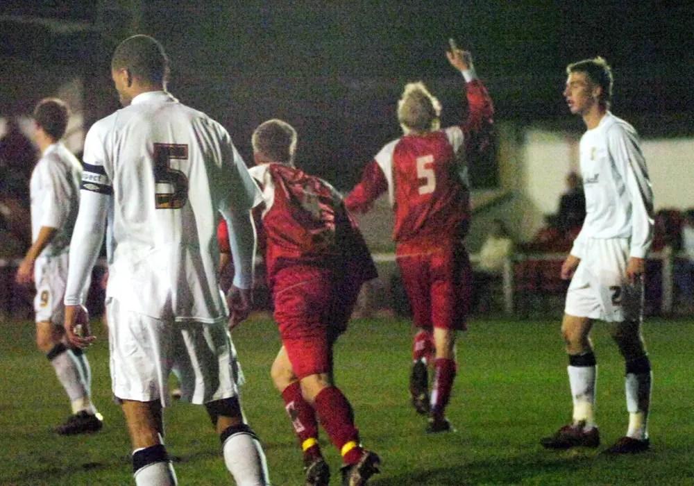 Michael Buck celebrates scoring for Bracknell Town. Photo: getreading.