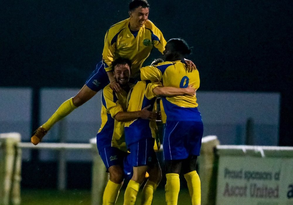 Ascot United celebrate scoring against Bracknell Town. Photo: Neil Graham.