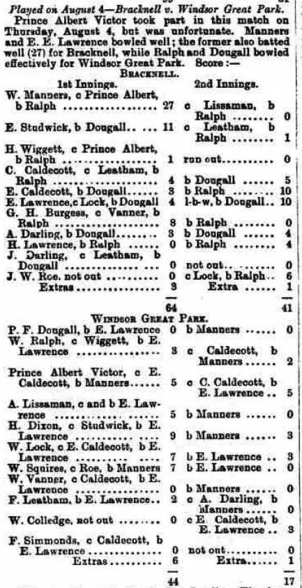4th August 1887 Scorecard from Bracknell Cricket Club vs Windsor Great Park