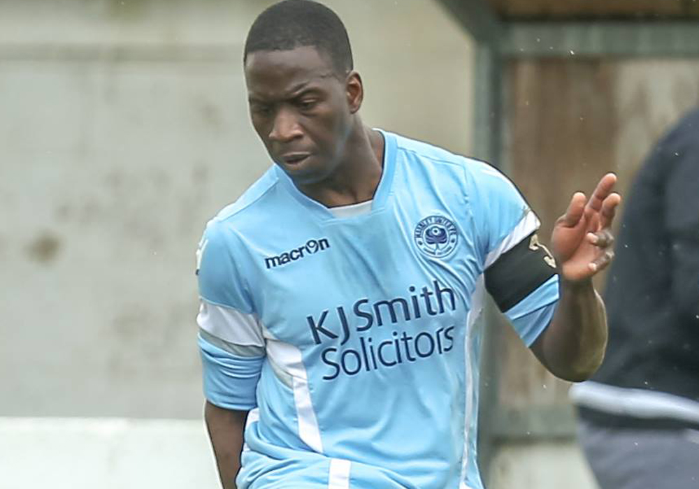 Woodley United captain Idris Kamara. Photo: Neil Graham.