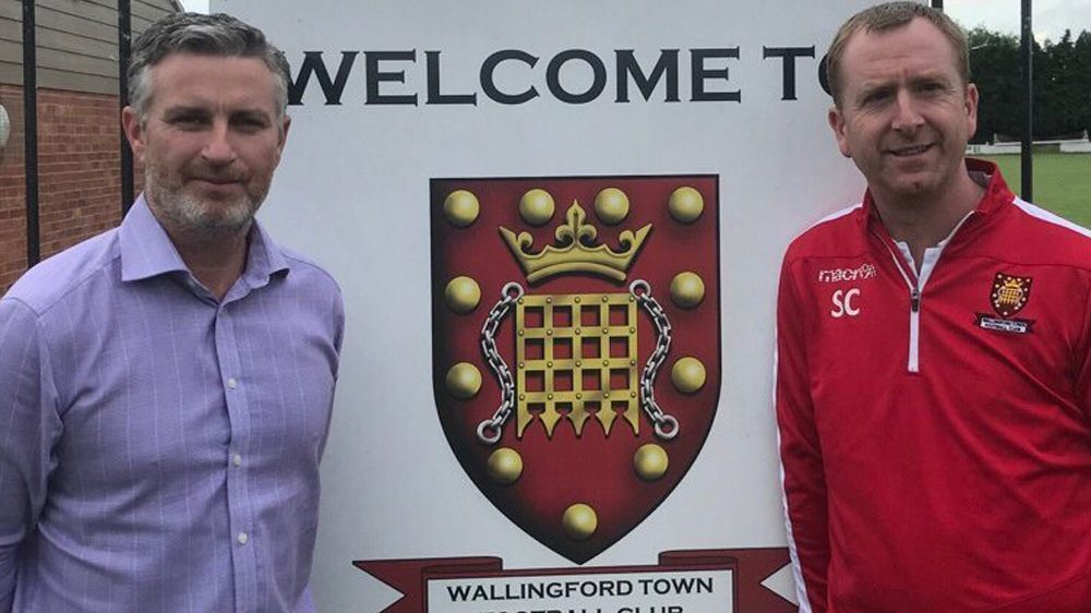 Glenn Goudie, Wallingford Town AFC manager and chairman Simon Cowlard. Photo: WTFC.