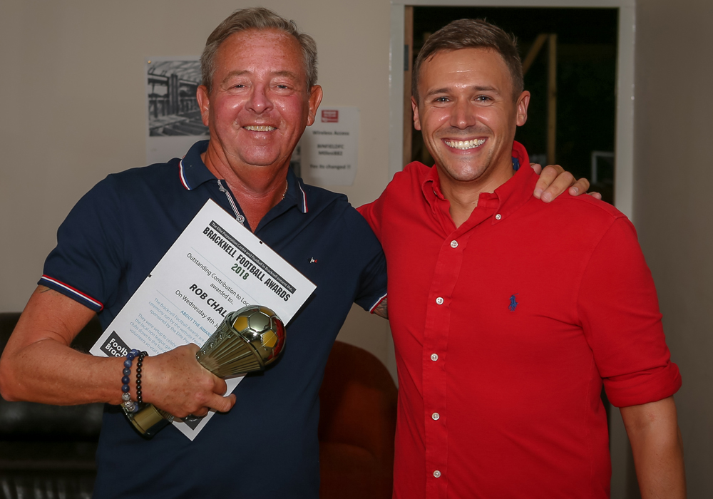 Binfield's Rob Challis accepts his award for Outstanding Contribution to Local Football. Photo: Neil Graham
