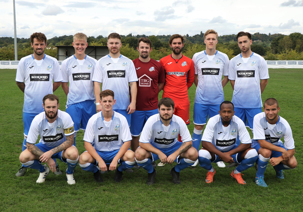 Eversley & California pose in their new home kit. Photo: Richard Milam.