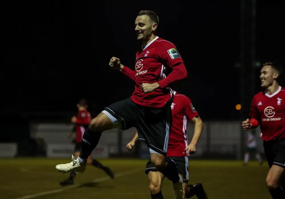 Bracknell Town's Adam Cornell celebrates scoring against Bognor Regis Town. Photo: Neil Graham.