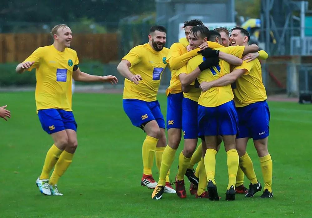 Ascot United celebrate scoring. Photo: Robert Mack/Shooting Stars
