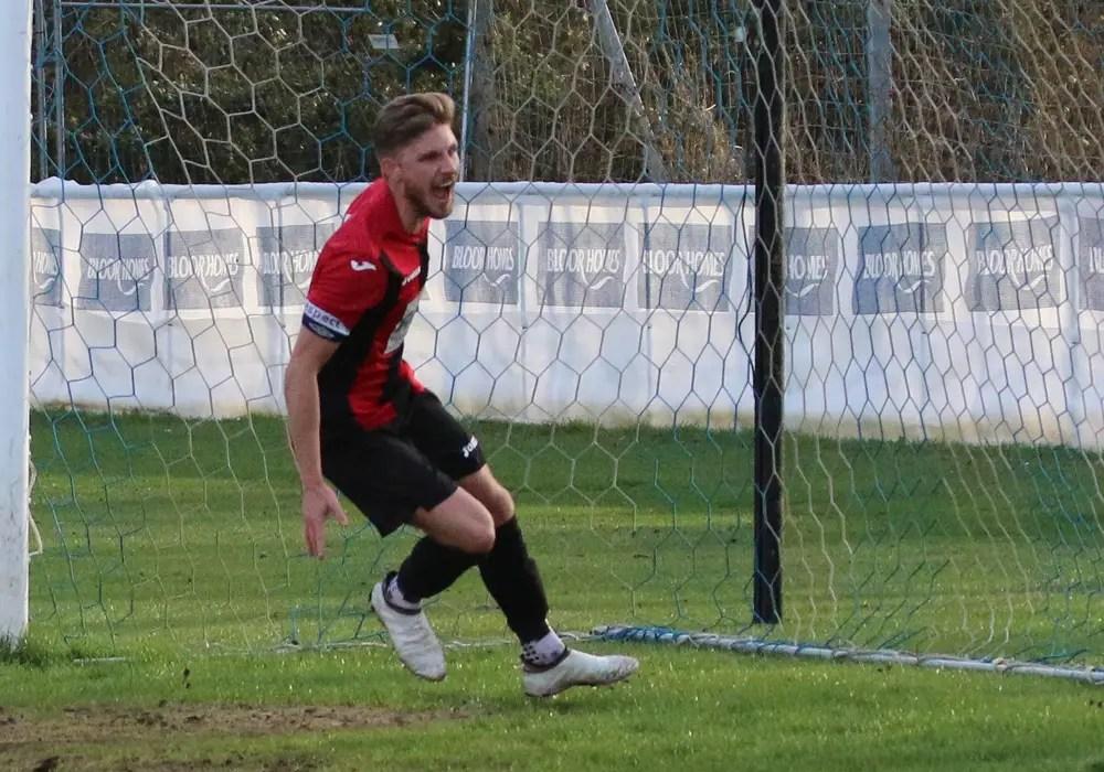Charlie Oakley scores for Sandhurst Town. Photo: Simon Bryce.