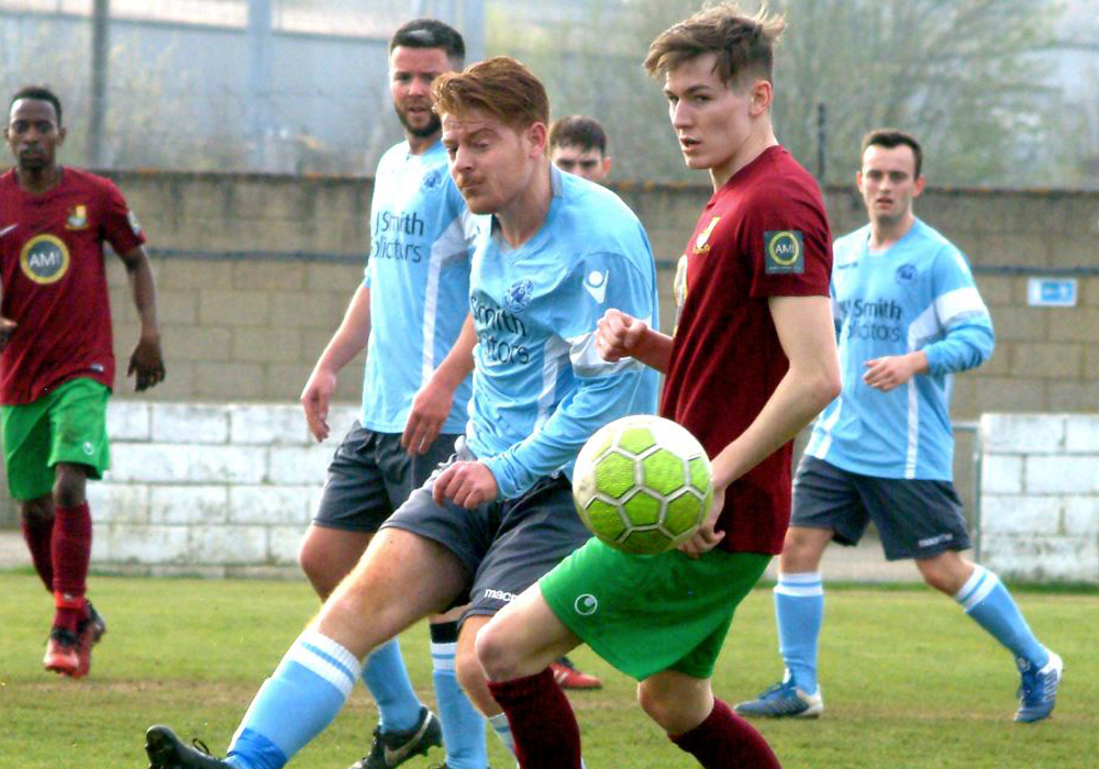 Adam Barnard playing for Woodley United against Holyport. Photo: Peter Toft.