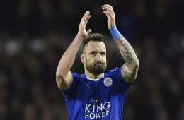 Marcin Wasilewksi applauds the fans of his English club Leicester City