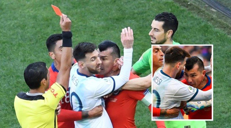 'तनावपूर्ण' खेलमा चिलीलाई हराउँदै अर्जेन्टिना तेस्रो : मेस्सीलाई रातो कार्ड !