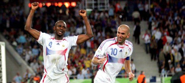 French Football players during the World Cup Vieira and Zidane