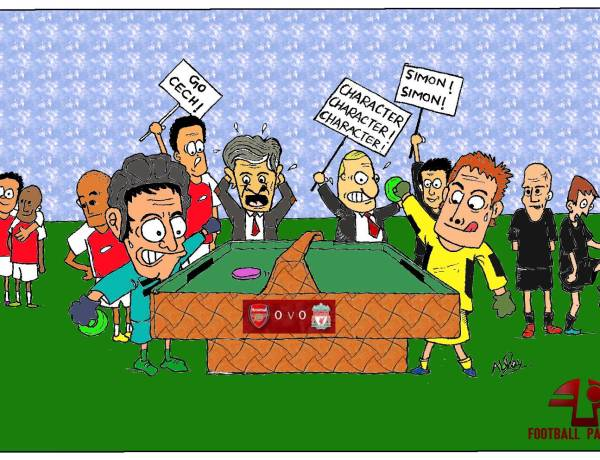 """""""Arsenal and Liverpool was a game of two keepers, Petr Cech and Simon Mignolet"""", parps our cartoonist."""