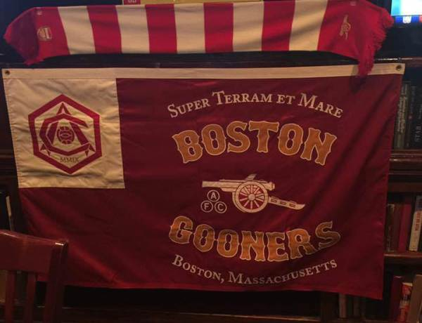 Boston Gooners merchandise, which adorns Lir's walls during games. Image courtesy: Boston Gooners