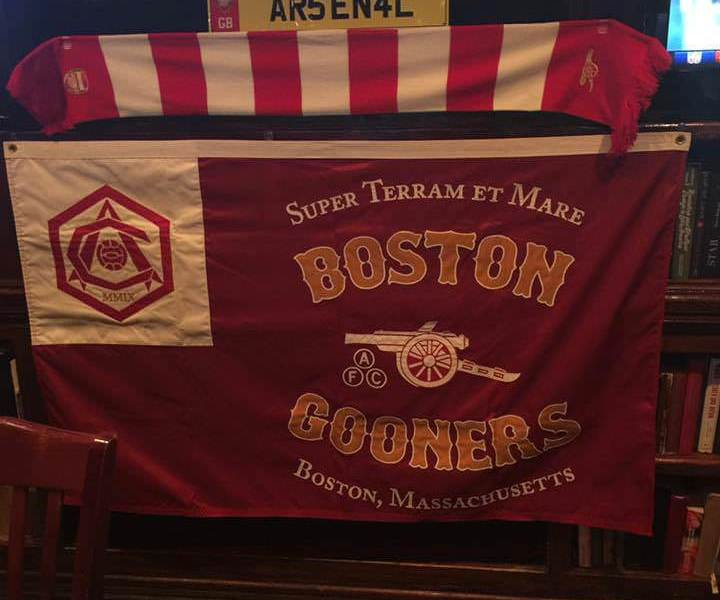 Boston Gooners merchandise, which adorns Lir's walls during games. Image courtesy: Boston Gooners