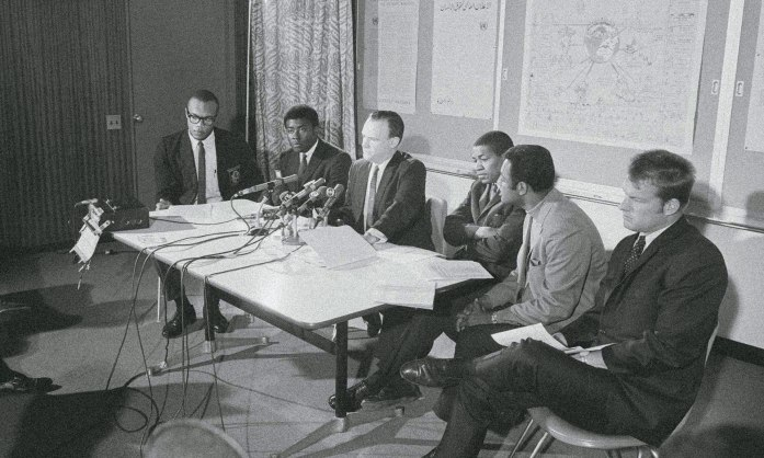 Steve Mokone, third right, appears at a press conference in New York to support a bid to boycott the 1968 Olympics in protest at South Africa's proposed readmittance. Photograph: Bettmann/CORBIS