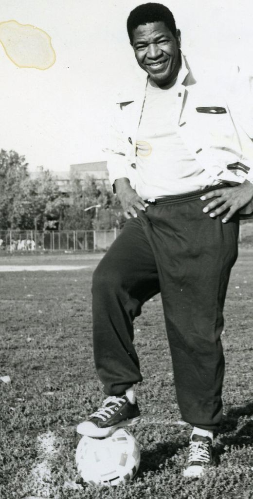 "Steve ""Kalamazoo"" Mokone: the first S.A. football player to play for a European club, founder of The Kalamazoo South African Foundation and is also on the board of directors of the Commonwealth Sports Awards. Circa 70's © Sowetan"