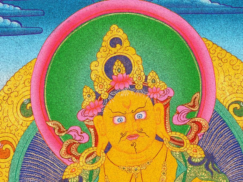 The Yellow Jamnbhalla Wealth God with tibetan mongoose nehulay