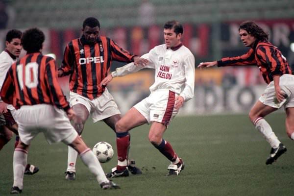 Milan's Patrick Vieira takes the ball off Bordeaux's Zidane during the CL Quarter Final 1st leg.