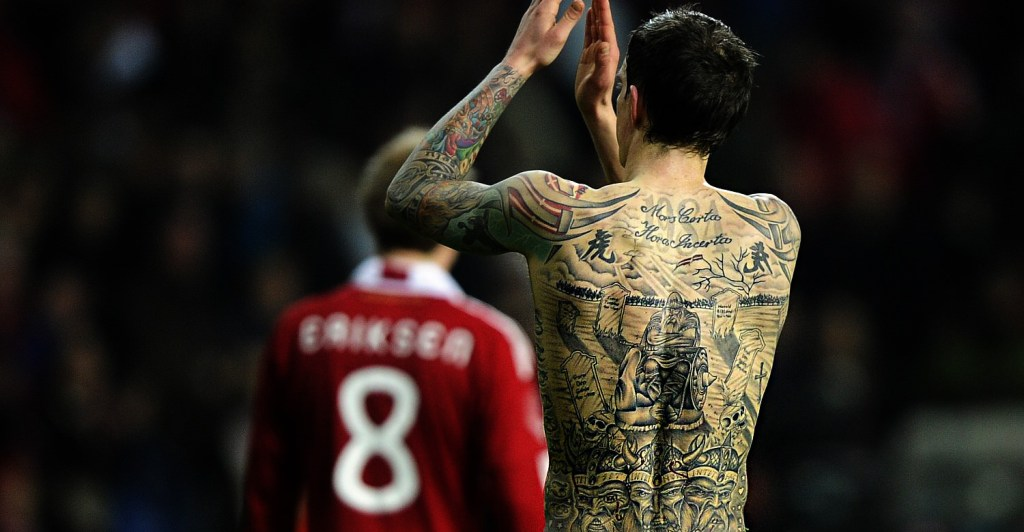 The former captain of Denmark, a classic case of football superstitions bearing his Viking ancestry on his skin. It didn't quite work out for him as injuries took him from being one of the best defenders in Europe at Liverpool to an early retirement back in the first division in Denmark.