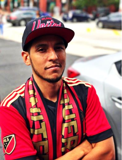 Atlanta United fan Jason Weintraub in his team's colours.