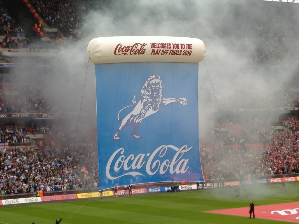 The Millwall FC flag in the 2010 Football League One Playoff Final. Millwall won the game 1-0 against Swindon.