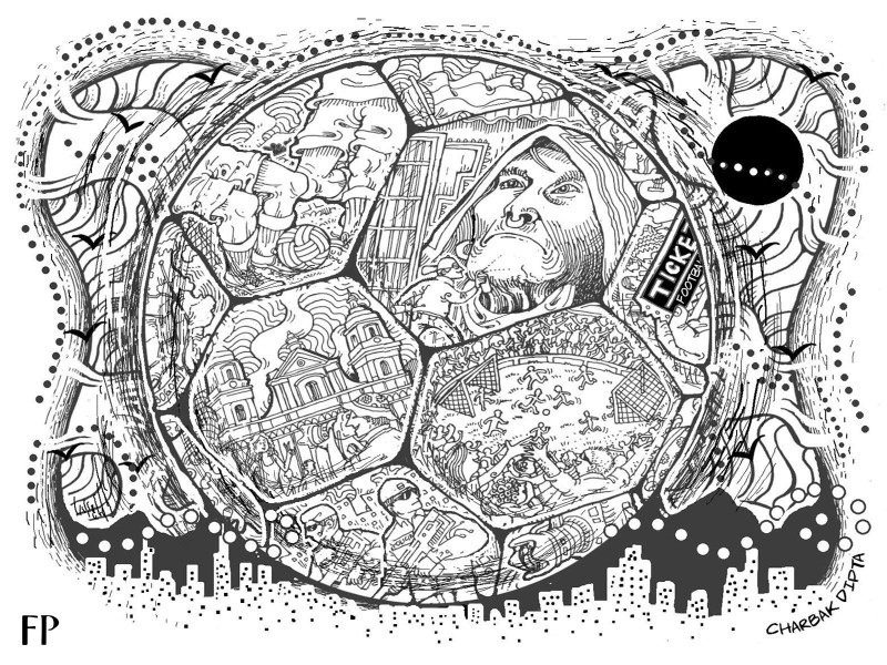 Bogota described through political murals, football and uneasy shadows from the past. Illustration by Charbak Dipta.