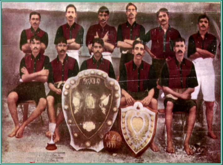The Mohun Bagan A.C. team that won the 1911 IFA shield against East Yorkshire regiment. Established in 1889, they're the oldest football club from India that is still functional today.