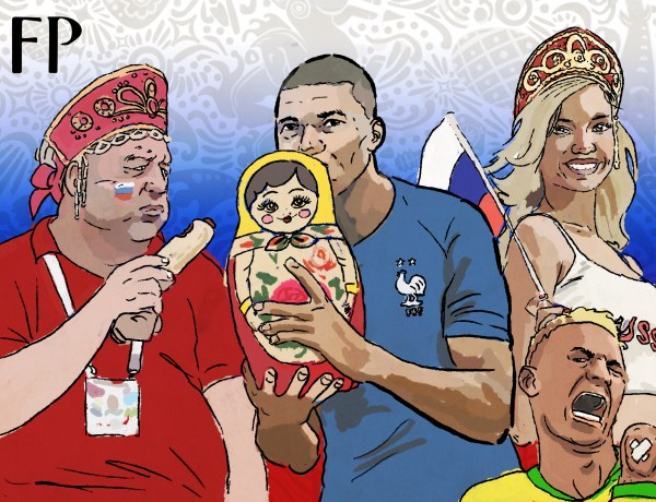 Russia, Mbappe and Neymar: The madness of World Cup 2018. (Art by Fabrizio Birimbelli)