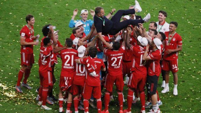bayern munich player celebrate champions league