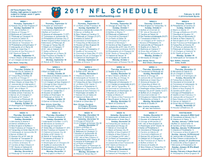 nfl printable weekly schedule 2018 - April.onthemarch.co