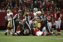 Referee Terry McAulay signals a fumble recovery by the 49ers. (San Francisco 49ers photo)