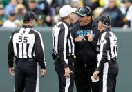 R Jeff Triplette, FJ Alex Kemp, and LJ Jeff Bergman with Jaguars coach Ron Rivera [Jacksonville Jaguars photo]