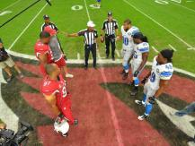 Referee Jerome Boger on the coin toss [Detroit Lions photo]