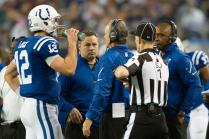 Side judge Scott Novak listens in (Indianapolis Colts photo)