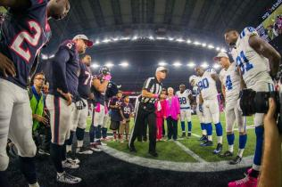 Referee Terry McAulay at the coin toss (Indianapolis Colts).