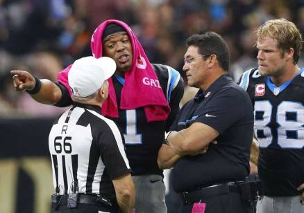 Walt Anderson hears out an apparent complaint (Carolina Panthers)