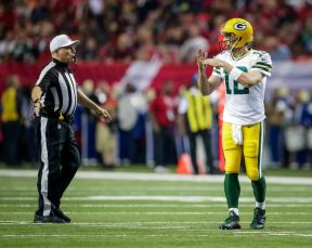 Walt Anderson grants a time out (Green Bay Packers)