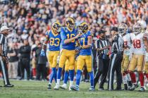 Jerome Boger, Steve Shaw and Tony Steratore discuss a call (Los Angeles Rams)