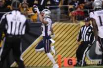 Steve Zimmer at the pylon (New England Patriots)