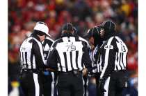 Clete Blakeman with his conference championship crew (Kansas City Chiefs)