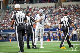 L-R: Referee Adrian Hill, back judge Greg Meyer and side judge Jim Quirk. (Dallas Cowboys)