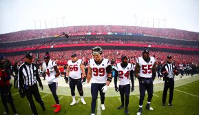 Brad Freeman and Chad Hill bring the captains out (Houston Texans)
