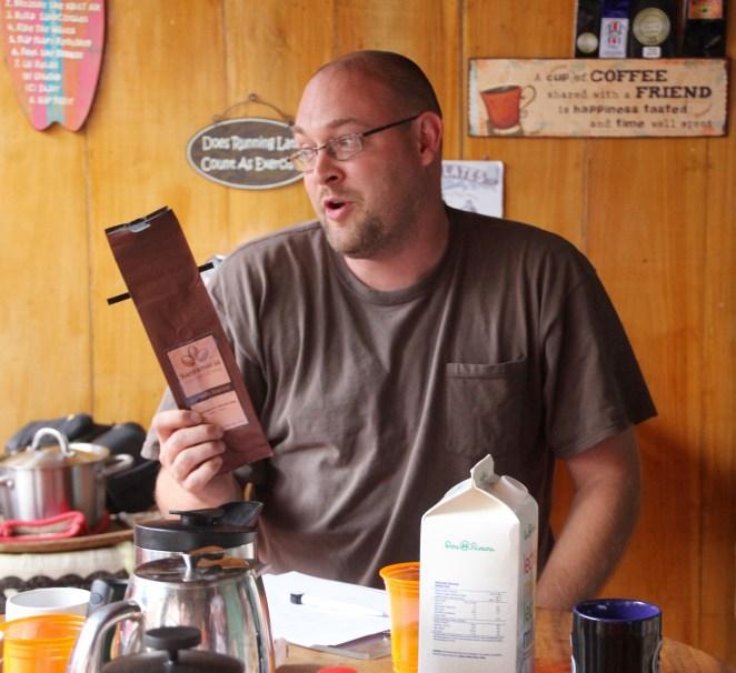 Jordan, sharing our story at our first informal taste-testing