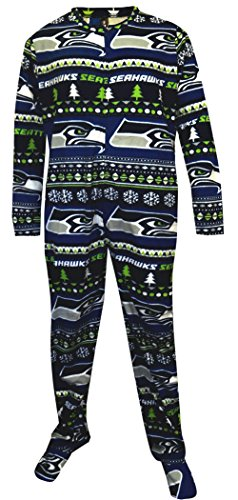 new concept a5f0b 59ffc Seattle Seahawks Ugly Sweater Guys Onesie Footie Pajama for ...