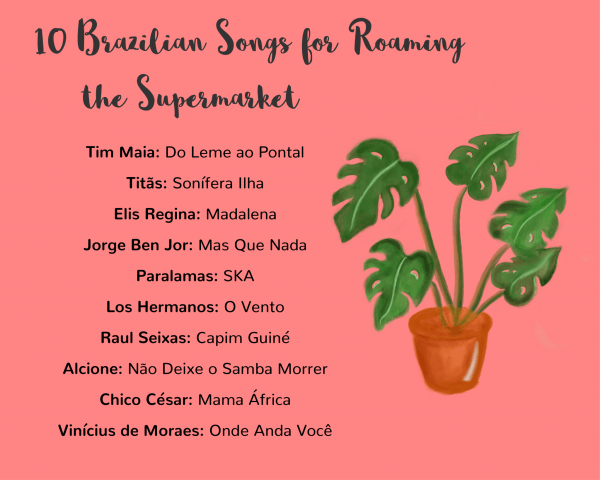 Graphic with a playlist for 10 Brazilian songs for roaming the supermarket. Watercolor digital hand-drawing of a monstera plant on right.
