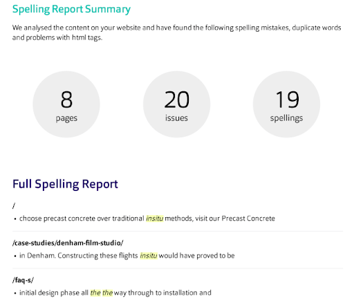 Content & spelling report summary example.