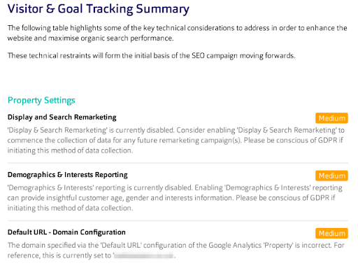 Visitor & goal tracking audit example