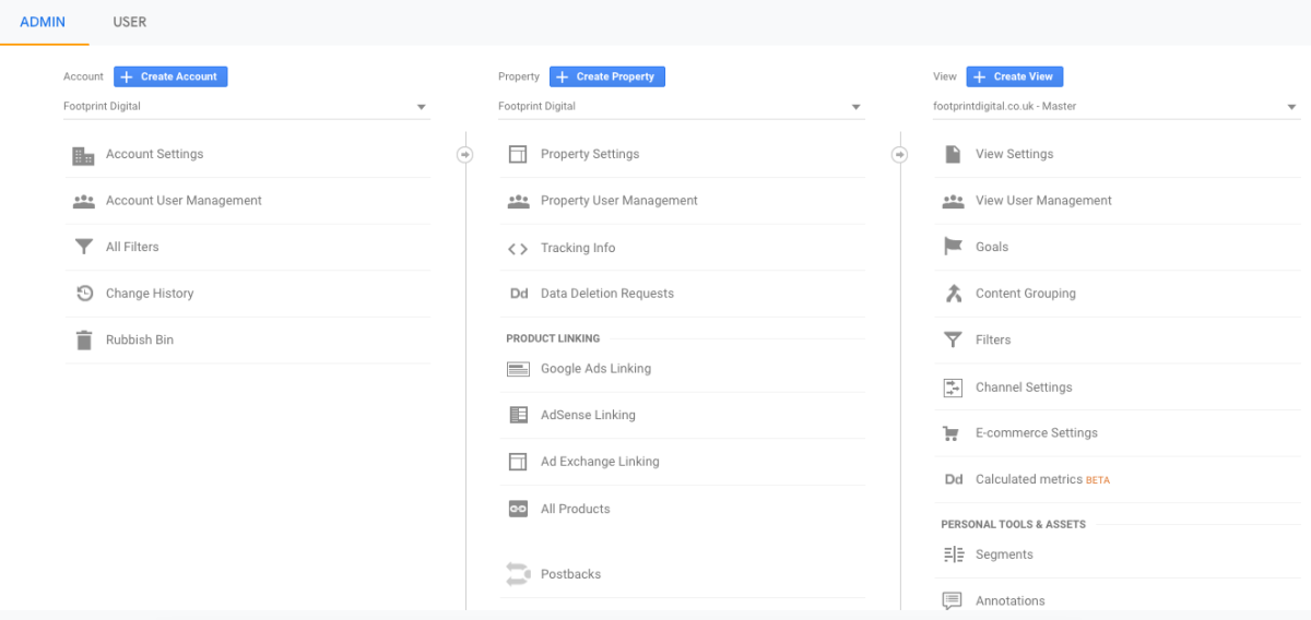 Auditing the admin settings in Google Analytics