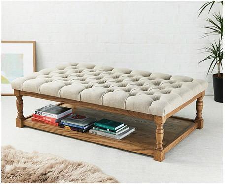 hamilton deep buttoned rectangular oak framed coffee table stool