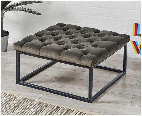 stuttgart deep buttoned square metal ottoman footstools more