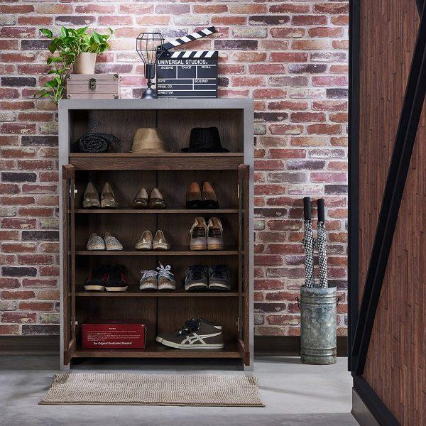 industrial looking shoe storage